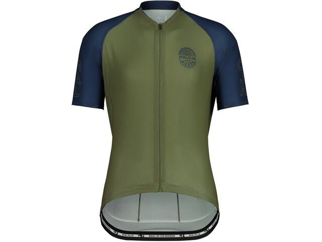 Maloja StachelbeereM. 1/2 Short Sleeve Bike Jersey Men, oliwkowy/niebieski